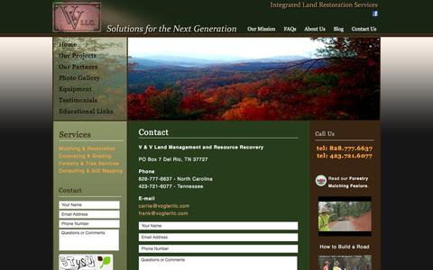 Screenshot of Contact Page voglerllc.com - V & V Land Management | NC SC TN KY VA GA - captured Oct. 27, 2014