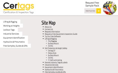 Screenshot of Site Map Page certags.com - Certification and inspection tags & labels | Certags - captured Sept. 26, 2014