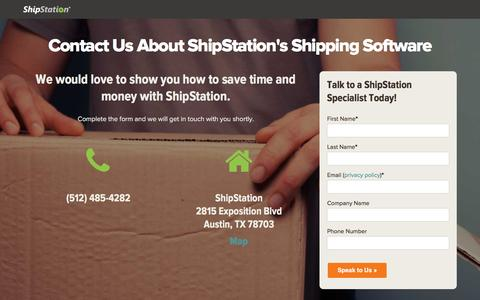 Screenshot of Contact Page shipstation.com - Contact Sales Regarding ShipStation's Order Fulfillment Software - captured March 25, 2016