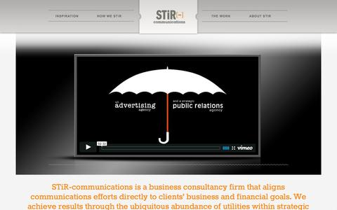 Screenshot of Home Page stir-communications.com - STiR-communications | Public Relations, Advertising and Marketing - captured Oct. 3, 2014