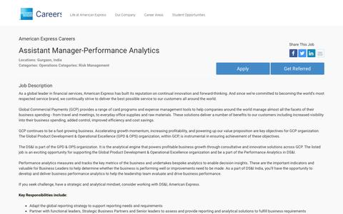 Screenshot of Jobs Page americanexpress.com - Apply For American Express Assistant Manager-Performance Analytics job - Operations, Risk Management - Gurgaon, India - captured Oct. 26, 2016