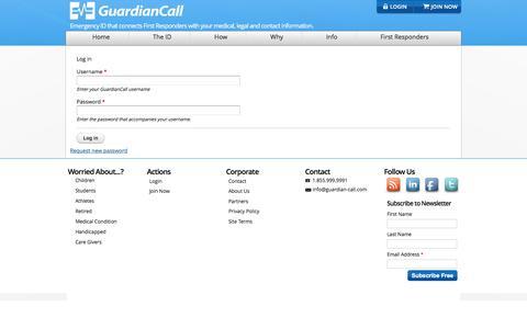 Screenshot of Login Page guardian-call.com - User account   Guardian-Call.com - captured Feb. 2, 2016