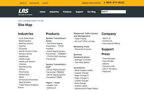 Screenshot of Site Map Page pager.net - Long Range Systems Site Map | Pager.net - captured Sept. 25, 2014