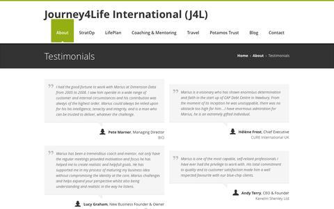 Screenshot of Testimonials Page journey4life.com - Journey4Life International (J4L)Testimonials - Journey4Life International (J4L) - captured Oct. 27, 2014