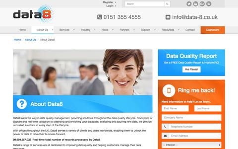 Screenshot of About Page data-8.co.uk - Data cleansing, data validation and data supply - captured Nov. 24, 2016