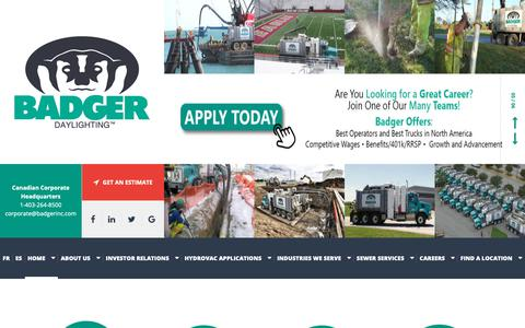 Screenshot of Home Page badgerinc.com - Home > Badger Daylighting™ - Hydrovac Services (Non-Destructive Excavation) Company In Canada And The USA - captured Nov. 13, 2018