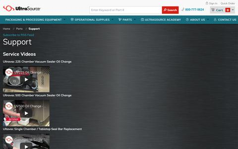 Screenshot of Support Page ultrasourceusa.com - Support   UltraSource food equipment and industrial supplies - captured May 29, 2019