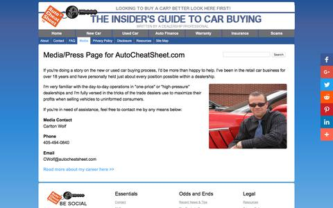 Screenshot of Press Page autocheatsheet.com - Media\Press Page for AutoCheatSheet.com - captured Oct. 22, 2017