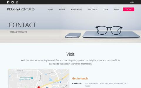 Screenshot of Contact Page prakhyaventures.com - CONTACT – Prakhya Ventures - captured Nov. 5, 2018