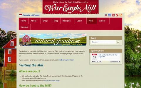 Screenshot of FAQ Page wareaglemill.com - FAQs - War Eagle Mill - captured Oct. 7, 2014