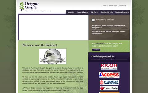 Screenshot of Home Page oregonala.org - Welcome from the President - Oregon ALA - captured Jan. 27, 2015