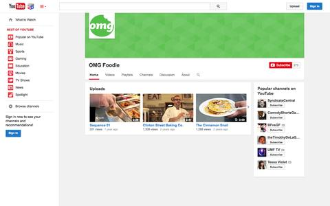 Screenshot of YouTube Page youtube.com - OMG Foodie  - YouTube - captured Nov. 5, 2014