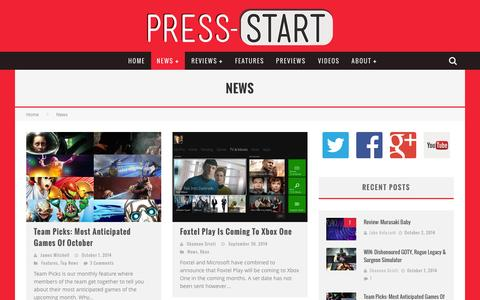 Screenshot of Press Page press-start.com.au - News | Press Start Australia - captured Oct. 3, 2014
