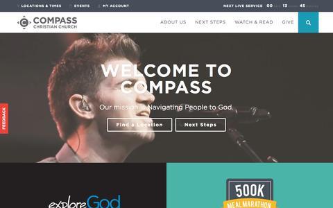 Screenshot of Home Page mycompasschurch.com - Compass Christian Church - Compass Home - captured Sept. 19, 2015