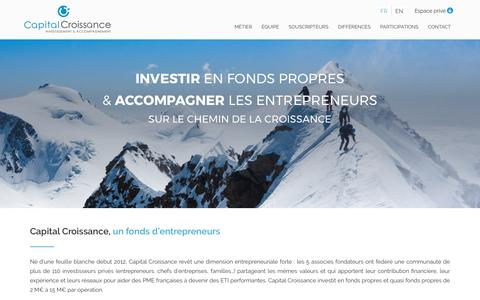 Screenshot of Home Page capitalcroissance.fr - Capital Croissance – Capital Croissance, un fonds d'entrepreneurs - captured May 13, 2017