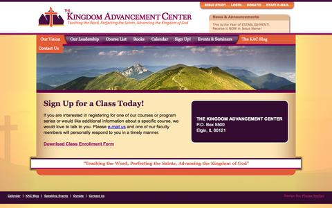 Screenshot of Signup Page thekingdomac.com - Sign Up! - The Kingdom Advancement Center - captured Oct. 6, 2014