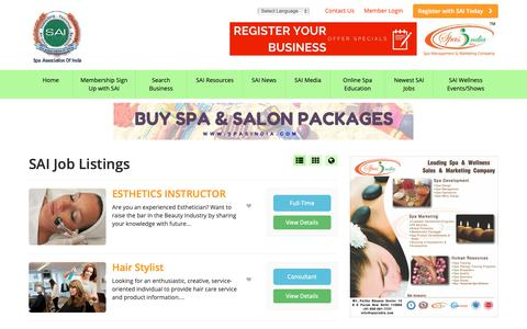 Screenshot of Jobs Page spaassociationofindia.in - Spa, Salon, Cosmetic Clinics, Wellness & Fitness Business in India SAI Job Listings - Find Spa Association Of India Members Are Spa Salon Cosmetic Industry Products & Equipment Manufacturers And Suppliers Worldwide SAI Job Listings - captured Oct. 19, 2018