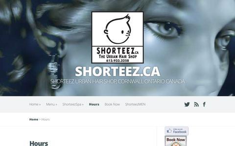 Screenshot of Hours Page shorteez.ca - Hours | shorteez.ca - captured Aug. 13, 2016