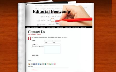Screenshot of Contact Page editorialbootcamp.com - Contact Us | Editorial Bootcamp - captured Sept. 29, 2014
