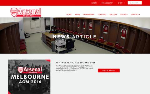 Screenshot of Press Page arsenalaustralia.com.au - Arsenal Australia Supporters Club |   News - captured July 26, 2016
