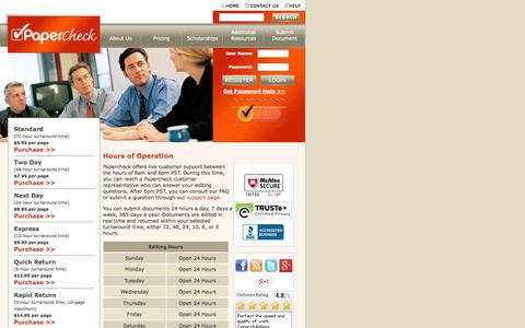 Screenshot of Hours Page papercheck.com - Proofreading & Paper Editing - Hours of Operation - captured Sept. 23, 2014