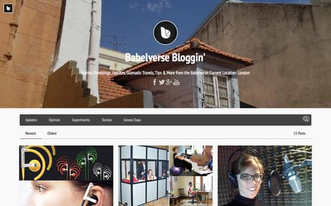 Screenshot of Blog babelverse.com - Babelverse Bloggin'   Stories, Ramblings, Updates, Glomadic Travels, Tips & More from the Babelverse. Current Location: London - captured Sept. 13, 2014