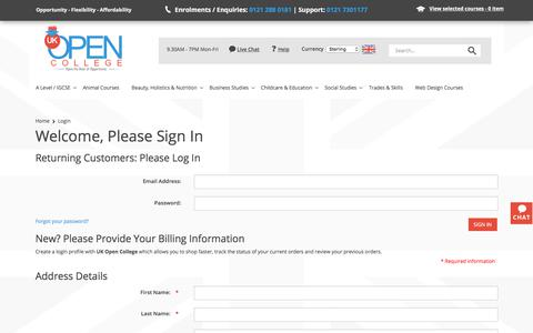 Screenshot of Login Page ukopencollege.co.uk - Login : UK Open College, Distance Learning Specialists - captured July 26, 2018