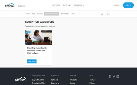Screenshot of Case Studies Page affirm.com - Education Case Study - captured Dec. 4, 2019