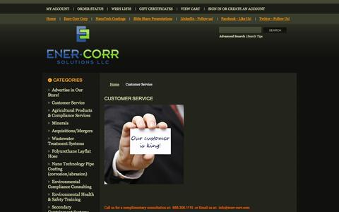 Screenshot of Support Page ener-corr.com - Customer Service - ENER-CORR SOLUTIONS SUPPLY - captured Oct. 1, 2014