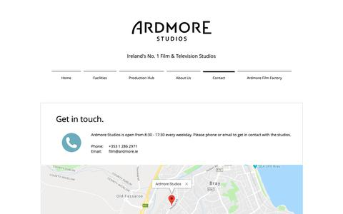 Screenshot of Contact Page ardmore.ie - Ardmore Studios | Contact Us - captured Oct. 4, 2018