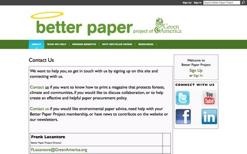 Screenshot of Contact Page ning.com - Contact the Better Paper Project if you want to know how to print a magazine that protects the environment - captured Sept. 13, 2014