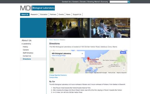 Screenshot of Maps & Directions Page mdibl.org - Directions - MDI Biological Laboratory - captured Oct. 4, 2014