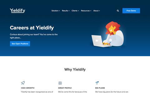 Screenshot of Jobs Page yieldify.com - Careers at Yieldify - Yieldify | Customer Journey Tools - captured July 13, 2019