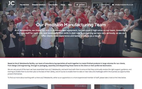 Screenshot of Team Page jcmetalworks.co.uk - Metal Work Manufacturing Co. | JC Metalworks | Loughborough | Team - captured July 18, 2018