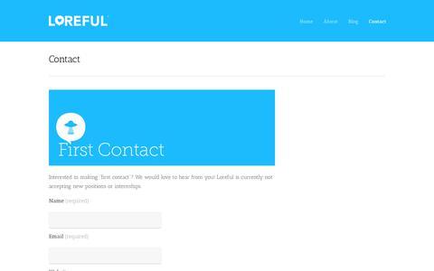 Screenshot of Contact Page loreful.com - Contact | Loreful - captured Sept. 30, 2014