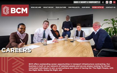 Screenshot of Jobs Page bcmconstruction.co.uk - Careers | BCM - captured July 31, 2018