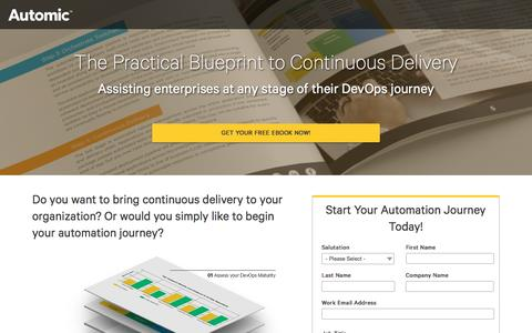 Screenshot of Landing Page automic.com - Blueprint to Continuous Delivery with Automic Release Automation | eBook - captured Feb. 10, 2017