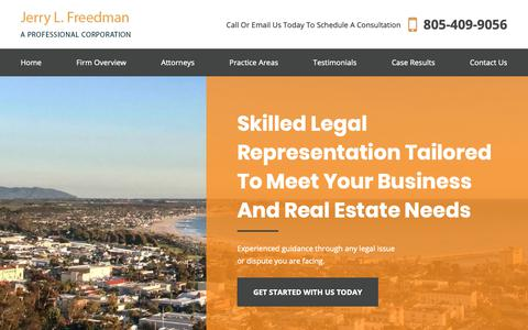 Screenshot of Home Page jerryfreedman.com - Southern California Business & Real Estate Attorney | Jerry L. Freedman - captured Oct. 13, 2018