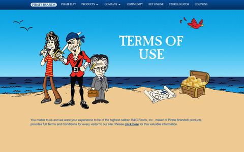 Screenshot of Terms Page piratebrands.com - Terms of Use | Pirate Brands - captured July 13, 2018