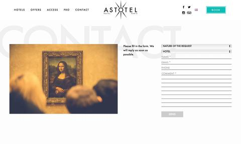 Screenshot of Contact Page Press Page astotel.com - ASTOTEL, hotels in the center of PARIS: CONTACT ASTOTEL - captured Dec. 26, 2017