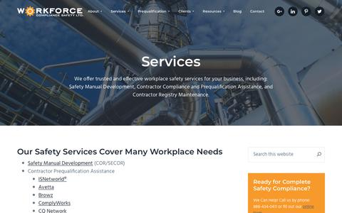 Screenshot of Services Page workforcecompliancesafety.ca - Safety Consultant Services   Workforce Compliance Safety, Ltd. - captured Aug. 4, 2019