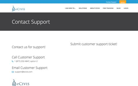 Screenshot of Support Page ecivis.com - contact - captured Oct. 23, 2017