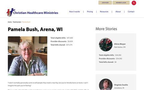 Screenshot of Testimonials Page chministries.org - Arena, WI              | Christian Healthcare Ministries - captured May 16, 2019