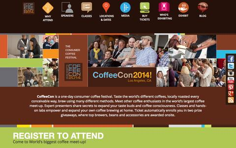 Screenshot of Home Page Press Page coffee-con.com - CoffeeCon is the Consumer Coffee Festival - captured Sept. 30, 2014