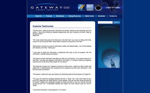 Screenshot of Testimonials Page gesc.com - Customer Testimonials for Gateway Energy Services - captured Jan. 26, 2016