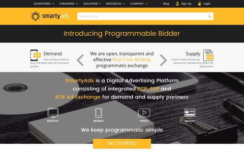 Screenshot of Home Page smartyads.com - Programmatic Digital Advertising Solutions | SmartyAds Ad Tech Company - captured May 31, 2017