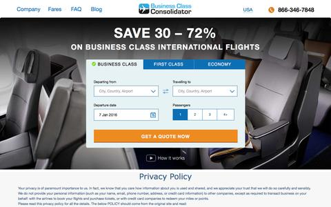 Screenshot of Privacy Page businessclassconsolidator.com - Business Class Consolidator | Discounted Business Class Flights | Travel the World in Comfort for Less - captured Jan. 7, 2016