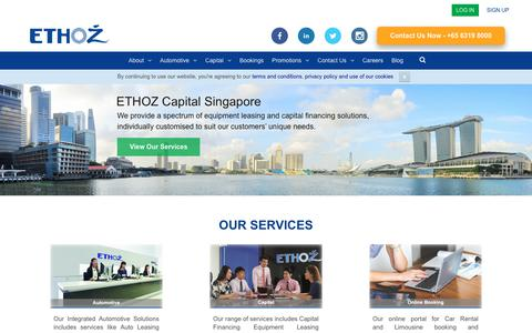 Screenshot of Home Page ethozgroup.com - ETHOZ - Integrated Automotive and Financing Solutions - captured Sept. 26, 2018