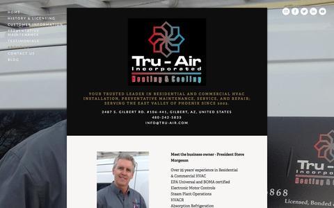 Screenshot of About Page tru-air.com - About Us — Tru-air, Inc. - captured Feb. 27, 2016