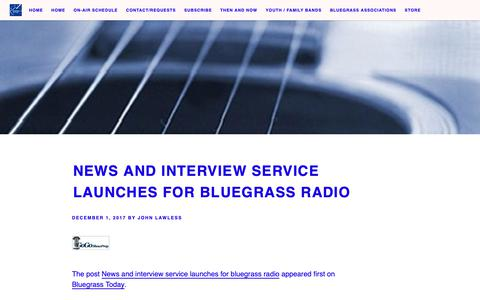 Screenshot of Press Page thebluegrassjamboree.com - News and interview service launches for bluegrass radio - - captured Oct. 20, 2018